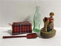 Lot of vintage shovel, coke, iron, & music box