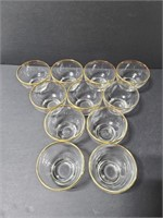 Eleven glass gold rimmed bowls