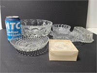 Glass bowls, coasters and butter dish