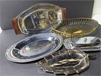 Vintage metal trays and butter dish