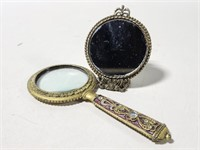 Vintage jeweled magnifying glass and mini mirror
