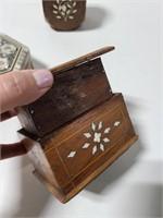 Three inlaid design wooden pieces