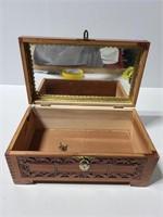 Carved wood mountain scene box w/ lock and keys