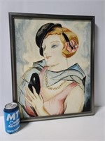 Framed painting of a woman