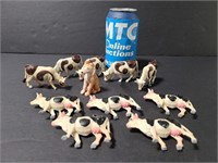 Vintage molded toy cows and dog