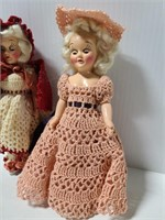 Old vintage doll pair w/ crochet dresses