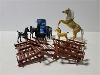 Vintage toy farm animals and fencing