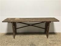 Antique rustic wooden bench