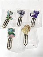 Enameled cat page book marks