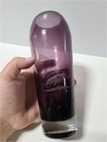 Etched purple glass palm tree and dolphin vase