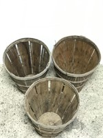 Set of 3 old 20 in. tall wood orchard baskets