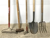 Five-pc yard tools: shovel, rake, sledge, fork