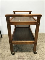 Rolling wood two-tier cart