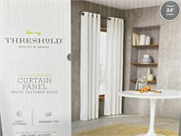 Threshold solid white textured curtain panel
