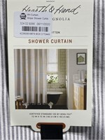 New hearth & home stripe cotton shower curtain