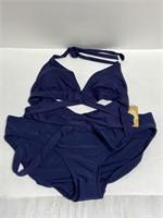 NWT Kona Sol women's navy wrap top bikini set