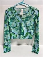 NWT girls aqua palm long sleeve swim shirt