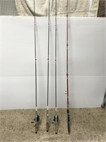 Lot of 4 old cork-handle fishing rods