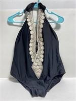 Kona Sol black deep V halter crotchet swimsuit