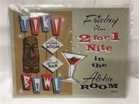 Tiki Bowl metal sign 14x11
