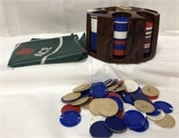 Vintage poker chip set with cardboard and plastic