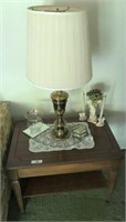 End Table With Lamp & Candle Holders