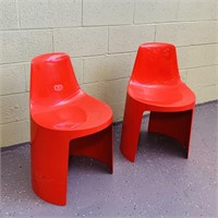 (2) Umbo Red Molded Plastic Chairs, Stackable,