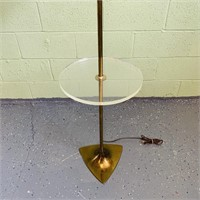 """Floor Lamp w/ Lucite Table, Brass Base, 57"""" High"""