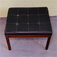 Walnut Framed Ottoman w/ Black Vinyl Cushion