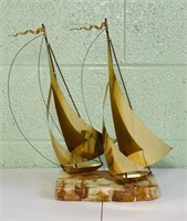 "Vintage Signed Brass Sailboat on Marble, 16"" High"