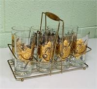 8 Vintage Glasses in Brass Holder
