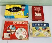 4 Vintage Boardgames, Spirograph, Rack-O, Qubic,