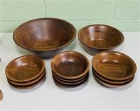 Vintage Wood Bowls, 17 Bowls, 7 Napkin Holders,