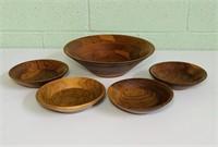 Vintage Wood Bowl Set, 5 Total