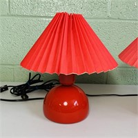 """Nordlux Danish Red Metal Base Lamps, 12"""" and 13""""h"""