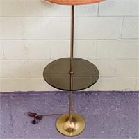 "Brass Base Floor Lamp w/Table 61"" high"