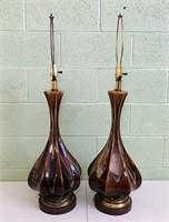 "Pair of Lava Glaze Lamps, no shades, 36"""