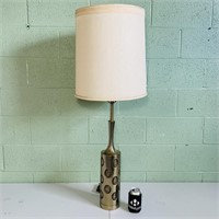 """Cast Brass Lamp w/Shade, 42.5"""" total height"""