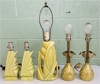 5 Vintage Lamps, All Green Colors