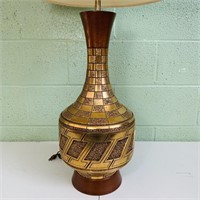 "Gold Enameled Lamp w/ Shade, 42.5"" total height"