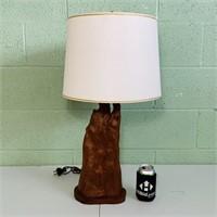 "Cypress Wood Lamp w/shade, 26"" height"