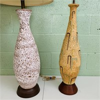 2 VintageLamps, Lava Glaze and Ceramic