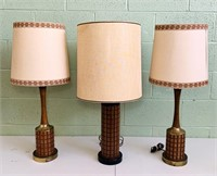 3 Vintage Lamps w/shades