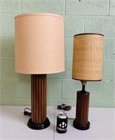 2 Slatted wood/ Metal Lamps