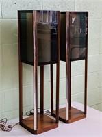 Walnut and Smoked Plexi Glass 3 Way Lamps