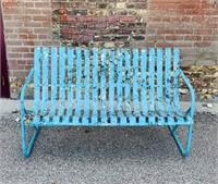 "Vintage Metal Bench, 55.5"" wide"