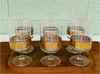 6 Cocktail Glasses w/ Etched Crowns