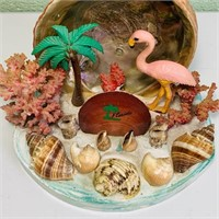 vintage Florida Pink Flamingo and Shells Souvenir