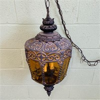 Vintage Glass/Metal Hanging Light