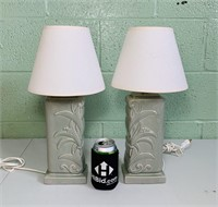 """Pair of Ceramic Lamps w/Shades 17"""" high"""